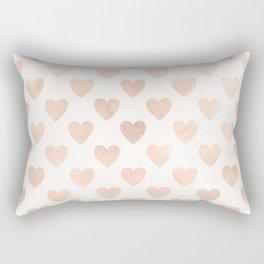 Cute Muted Pink Watercolor Hearts Pattern Rectangular Pillow