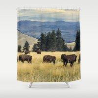 parks Shower Curtains featuring National Parks Bison Herd by BravuraMedia