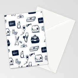 Dr Fluffton's exotics day Navy and White Stationery Cards