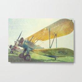 Preflight Biplane // Antique Airplanes Metal Print
