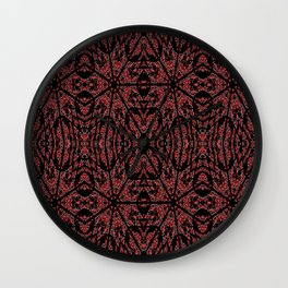 GOTHIC Red Unusual Rose Pattern Wall Clock