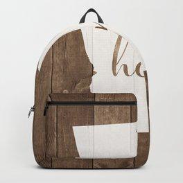 Georgia is Home - White on Wood Backpack