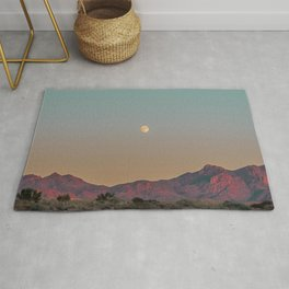 Sunset Moon Ridge // Grainy Red Mountain Range Desert Landscape Photography Yellow Fullmoon Blue Sky Rug