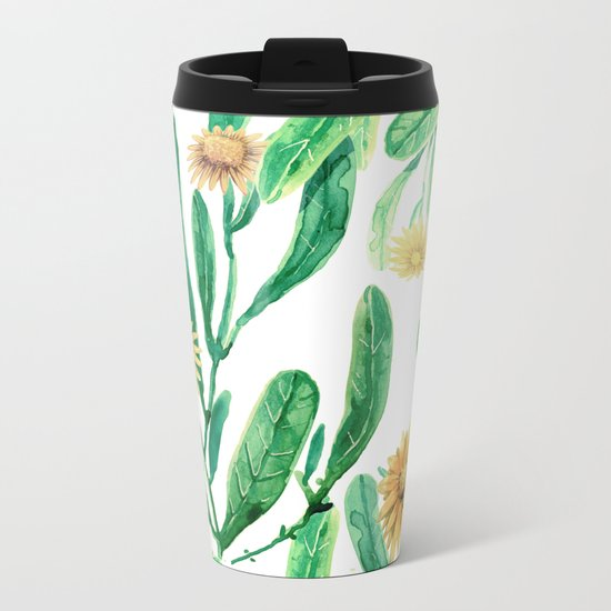 yellow flowers on sunny day Metal Travel Mug