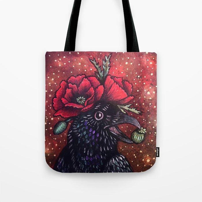 Poppy Crow Tote Bag