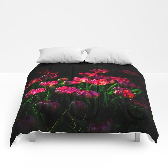 Pink tulip flowers Comforters