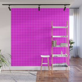 Pink Grid White LIne Wall Mural
