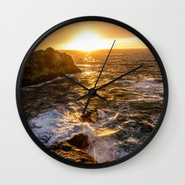 In Waves - Waves Crashing Into Rocks at Sunset In Big Sur Wall Clock