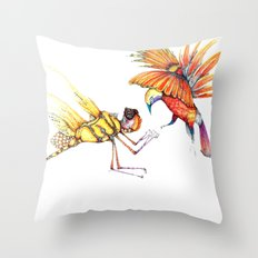 Holiday drawings:  Dragonfly & Bird of paradise Throw Pillow