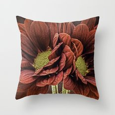 Red Chrysanthemum Duo Throw Pillow