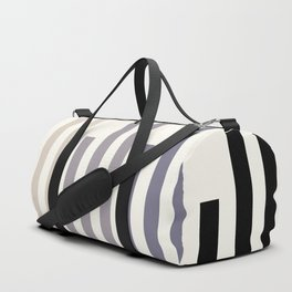 Grey Minimalist Abstract Mid Century Modern Staggered Thin Stripes Watercolor Painting Duffle Bag