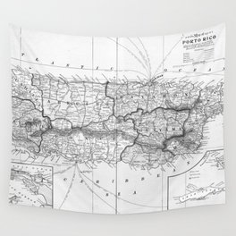 Vintage Map of Puerto Rico (1901) BW Wall Tapestry
