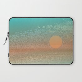 Moonscape: An Orange Circle on a Horizontal Path Floats in Front of a Broken Textural Background Laptop Sleeve