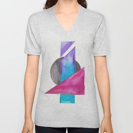 180818 Geometrical Watercolour| Colorful Abstract | Modern Watercolor Art Unisex V-Neck