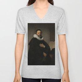Johannes Wtenbogaert, Rembrandt van Rijn, 1633. Fine art. Unisex V-Neck