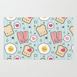 Bacon & Fried Egg Sandwich Kawaii Style Rug
