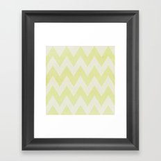 Grey and Lime Green Textured Chevron Pattern Framed Art Print