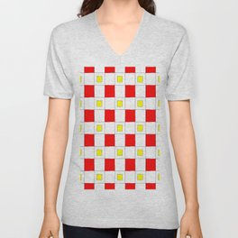 Tribute to mondrian 2- piet,geomtric,geomtrical,abstraction,de  stijl , composition. Unisex V-Neck