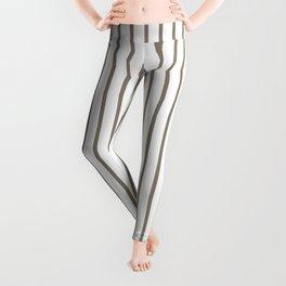 Mulch Brown Pinstripe on White Leggings