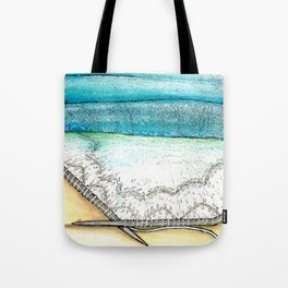knitted seascape watercolor Tote Bag