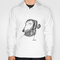 greyhound Hoodies featuring winter greyhound by rubyetc