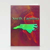 north carolina Stationery Cards featuring North Carolina Map by Roger Wedegis
