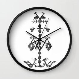 Tree of Life Black White Tribal Ethnic Kilim Motif Wall Clock