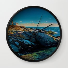 Island of Jamestown, Rhode Island Beaver Tail Lighthouse landscape painting Wall Clock