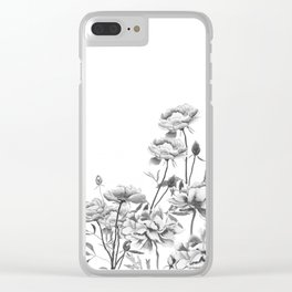 black and white peonies Clear iPhone Case