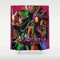 majoras mask Shower Curtains featuring Zelda Majora's mask by ezmaya