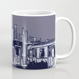 New York, NYC, Subway Train Yard at Night. (Photo collage, travel, gritty streets, graffiti) Coffee Mug