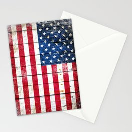 Distressed American Flag On Wood Planks - Horizontal Stationery Cards
