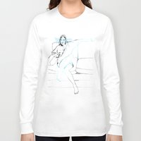 sofa Long Sleeve T-shirts featuring Girl on the sofa by Anastasia Efthias