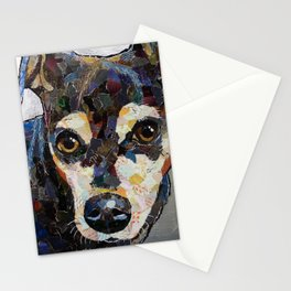 Dog with silver background Stationery Cards