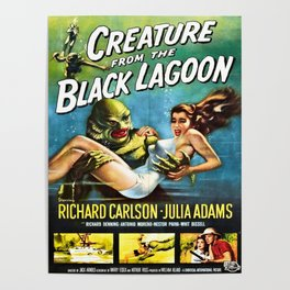 Creature from the Black Lagoon, vintage horror movie poster Poster