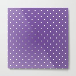 Small White Polka Dots with Purple Background Metal Print