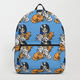 Manga girl in a kimono with cute cats Backpack
