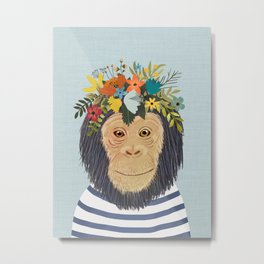 Baby Monkey, Nursery Animal, Safari Decor, Cute Baby Monkey Metal Print