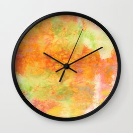 PASTEL IMAGININGS 3 Colorful Pretty Spring Summer Orange Yellow Peach Abstract Watercolor Painting Wall Clock
