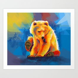 Play with a Bear - Animal digital painting, colorful illustration Art Print