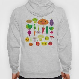 Kawaii vegetables peppers, pumpkin beets carrots, eggplant, red hot peppers, cauliflower, broccoli Hoody