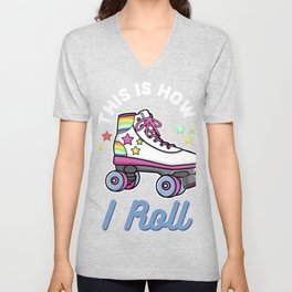 Funny Roller Girl Roller Skate Gift Design Idea product Unisex V-Neck