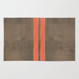 Vintage Hipster Retro Design - Brown Leather with Gold and Orange Stripes Rug