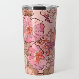 "Alphonse Mucha ""Printed textile design with hollyhocks in foreground"" (edited red) Travel Mug"