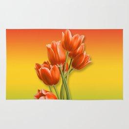 Orange Tulips & Warm Gradient Rug