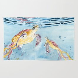 Take A Breath Sea Turtle Rug