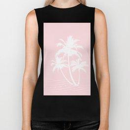 Millennial Pink White Tropical Palm Hawaii Illustration Biker Tank
