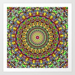 Happy Colorful Jungle Garden Mandala Art Print