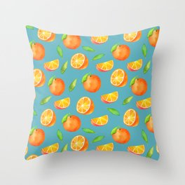 Watercolor Oranges Pattern Throw Pillow