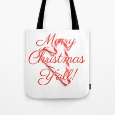 Merry Christmas Y'all Candy Cane Tote Bag
